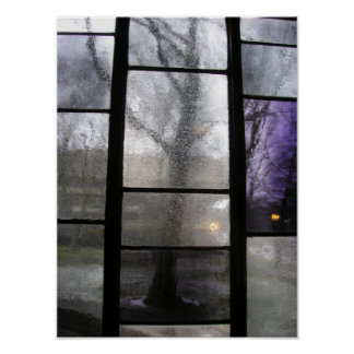 Tree Through Stained Glass Window Poster