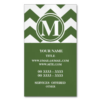 Tree Top Chevron Monogrammed Magnetic Business Cards (Pack Of 25)
