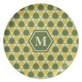 Tree Top Green/Gold Triangle-Hex Melamine Plate