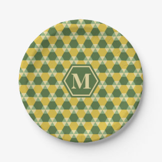 Tree Top Green/Gold Triangle-Hex Paper Plate 7 Inch Paper Plate