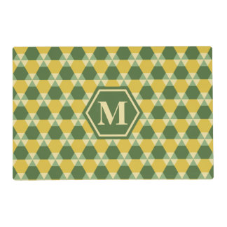 Tree Top Green/Gold Triangle-Hex Placemat