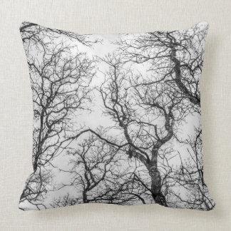 Tree Tops - Bare Trees - Black & White Throw Pillow
