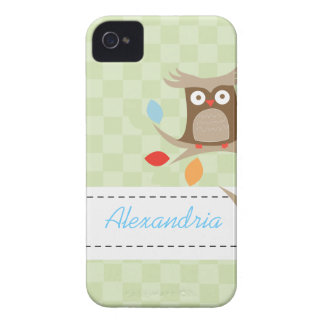 Tree Tops Owl Custom Name Blackberry Phone Case Case-Mate iPhone 4 Cases