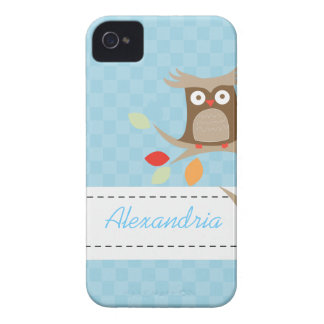 Tree Tops Owl Custom Name Blackberry Phone Case Case-Mate iPhone 4 Case