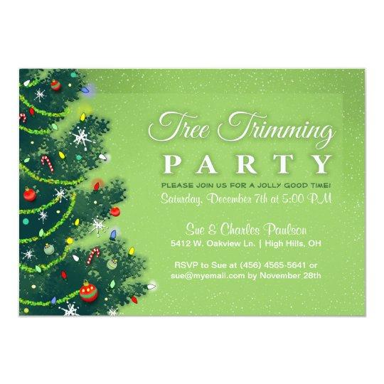Tree Trimming Party Invitation Green Tree – Tree Trimming Party Invitation