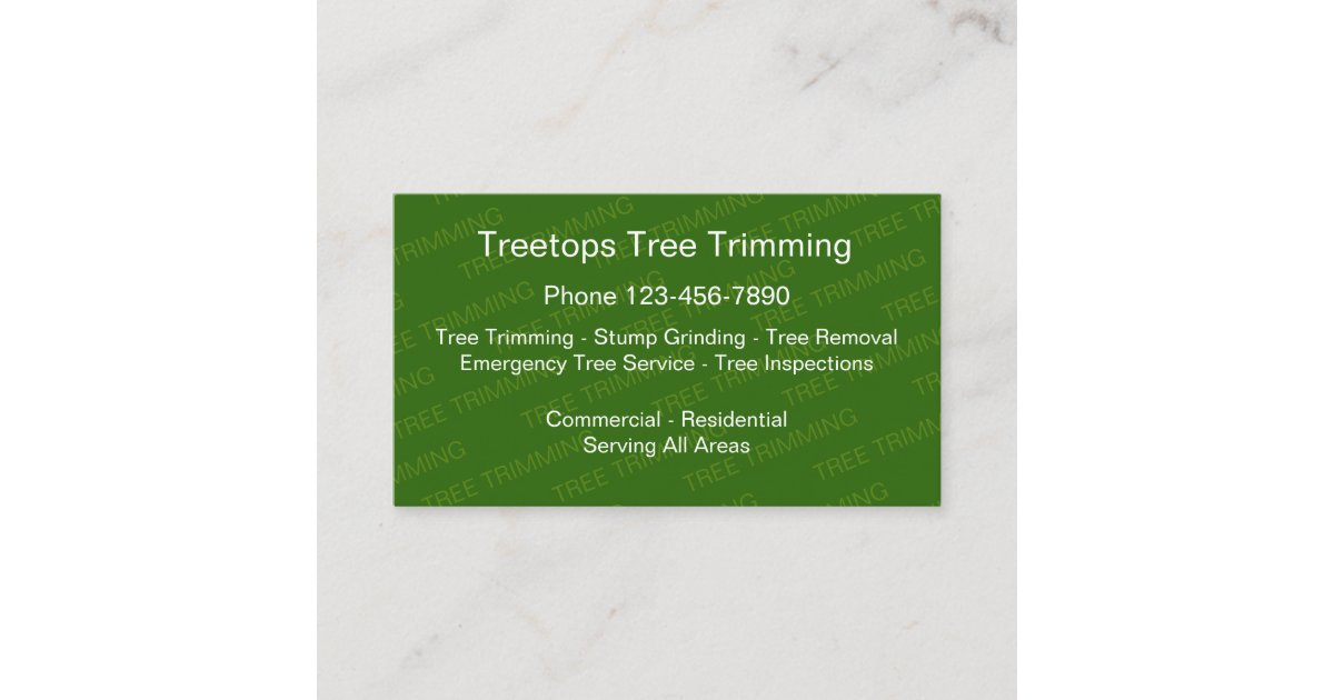 Tree Trimming Services Business Card | Zazzle.com