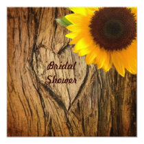 tree trunk heart country sunflower bridal shower invitation