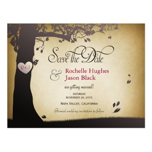 Tree Trunk Save the Date Postcard
