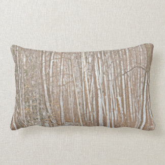 """TREE TRUNKS WITH SNOW"" LUMBAR PILLOW"