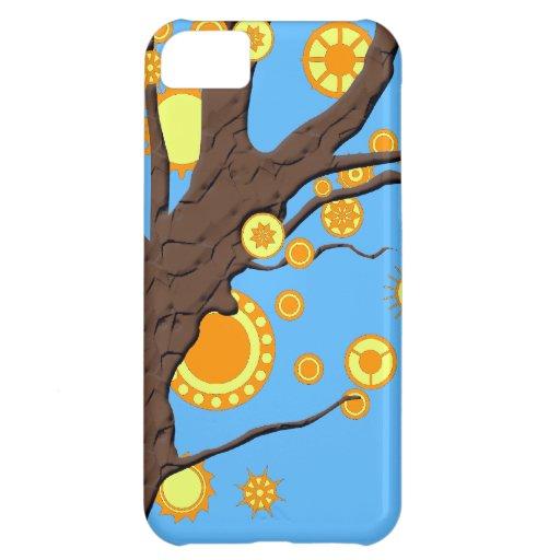Tree Vector Swirl on Blue Background iPhone 5C Case