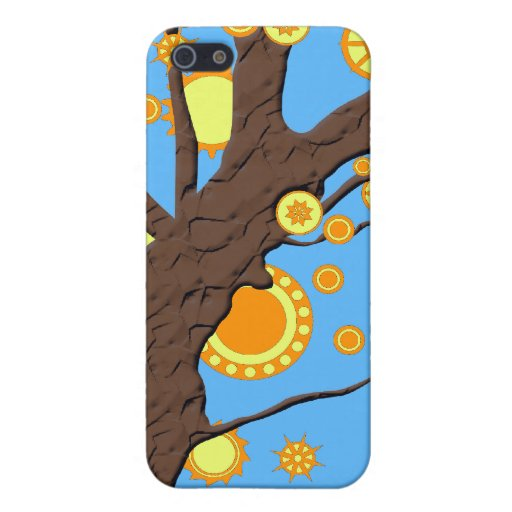 Tree Vector Swirl on Blue Background iPhone 5 Case