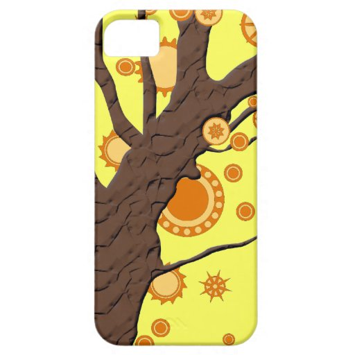 Tree Vector Swirl on Yellow Background iPhone 5 Covers