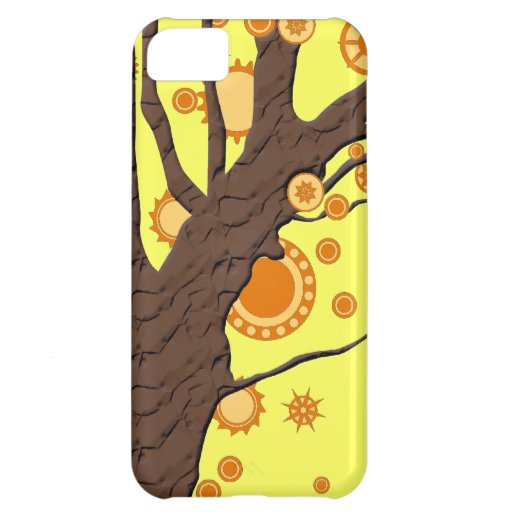 Tree Vector Swirl on Yellow Background iPhone 5C Cases
