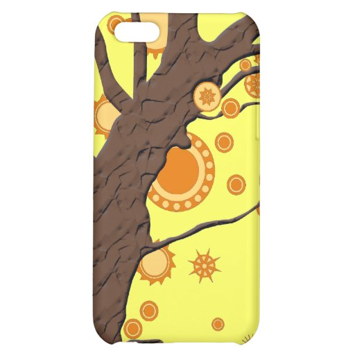 Tree Vector Swirl on Yellow Background iPhone 5C Cover