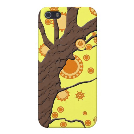 Tree Vector Swirl on Yellow Background Case For iPhone 5