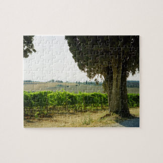 Tree Vineyard and Tuscan Landscape in Summer Puzzle