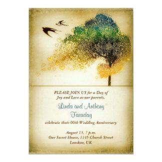"""tree vintage art wedding anniversary invitation 5"""" x 7"""" invitation card"""