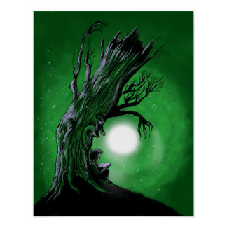 Tree Watches Over Reading Boy Poster