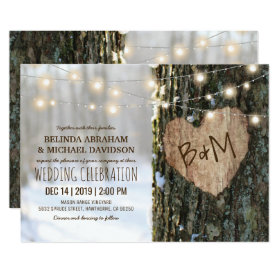 Tree Wedding Invitations | Rustic String Lights