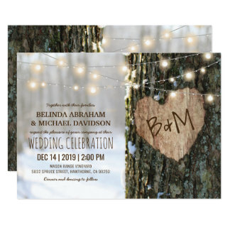 Tree Wedding Invitations | Rustic String Lights