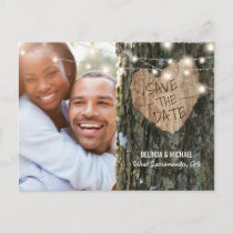 Tree Wedding Save the Date | Rustic String Lights Announcement Postcard