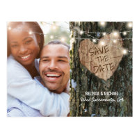 Tree Wedding Save the Date   Rustic String Lights Postcard