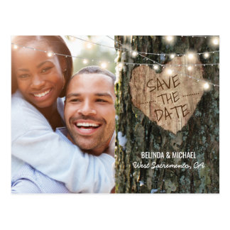 Tree Wedding Save the Date | Rustic String Lights Postcard