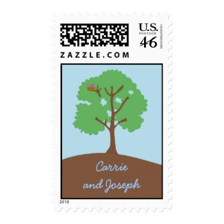 Tree Whimsical Wedding Postage stamp