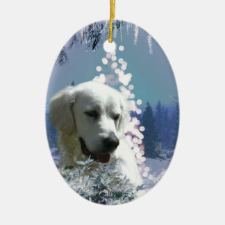 Tree White Lab Double-Sided Oval Ceramic Christmas Ornament