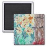 Tree & Wild Flowers Fridge Magnet