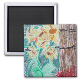 Tree & Wild Flowers 2 Inch Square Magnet