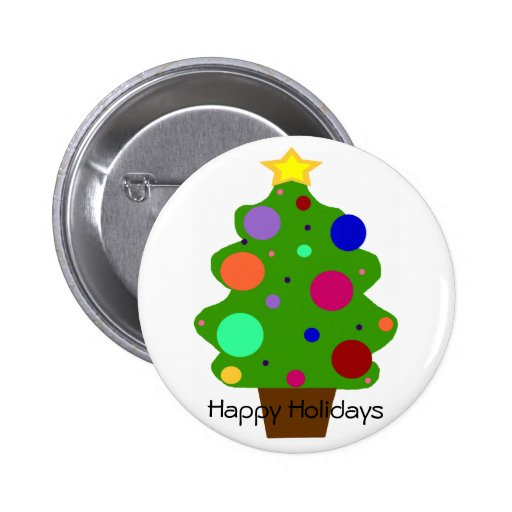 Tree with balls, Happy Holidays button