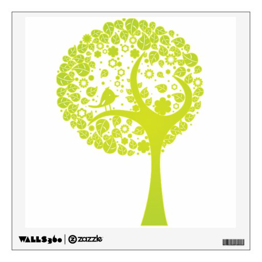 tree with bird abstract green wall decal