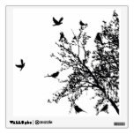 tree with birds sihouette black wall decal