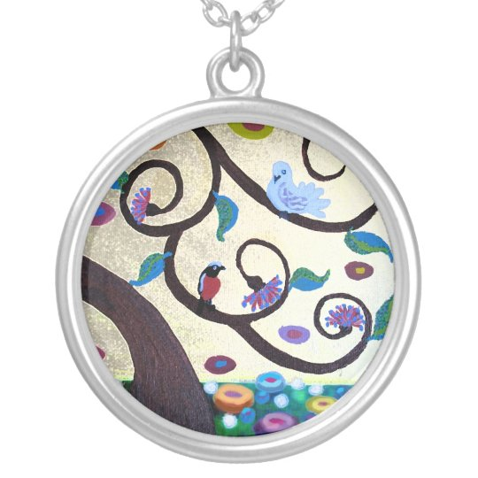 Tree with birds silver plated necklace