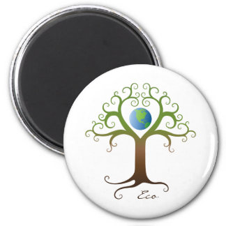 Tree with branches surrounding planet earth 2 inch round magnet