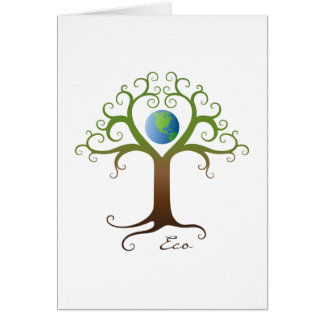 Tree with branches surrounding planet earth card