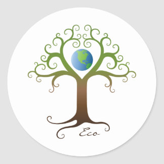 Tree with branches surrounding planet earth classic round sticker