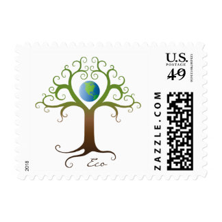 Tree with branches surrounding planet earth stamps