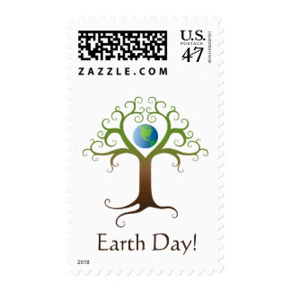 Tree with branches surrounding planet earth postage