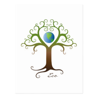 Tree with branches surrounding planet earth postcard
