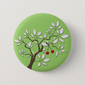 Tree with Cherries Button