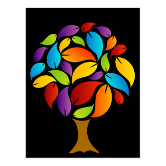 Tree with colorful leaves postcard