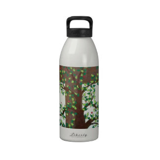 Tree with Cross and Sun in Colored Pencil Drinking Bottle