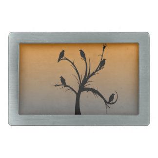 Tree with Crows Rectangular Belt Buckle