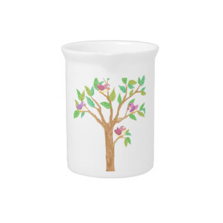 Tree with cute birds pitcher