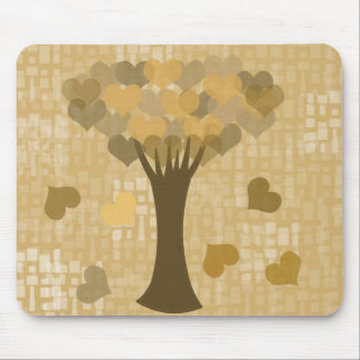 Tree with falling hearts fine art mouse pad