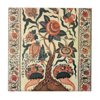 Tree with Flowers and Horns of Plenty, India 1750 Ceramic Tile