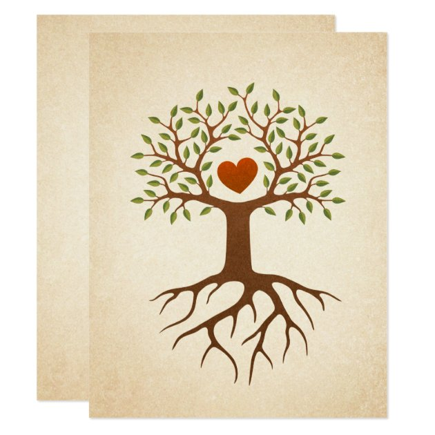 Tree with heart and roots family reunion invite | Zazzle