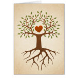Tree with heart and roots family reunion invite card